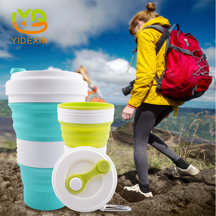Silicone portable coffee mug with lid