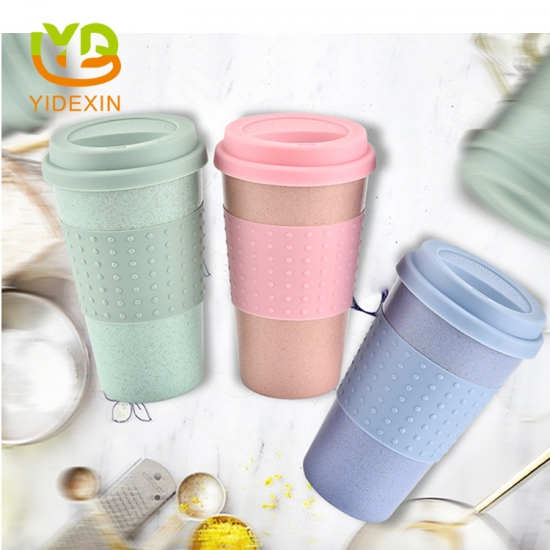 Wheat Straw Mugs With Silicone Sleeve