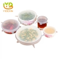 Factory Supply 100% Food Grade Silicone Reusable Food Cover Lid Set