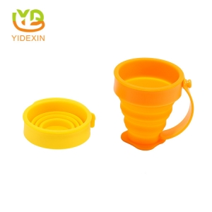 Travel Silicone Collapsible Water Cup with Plastic Handle