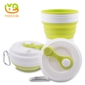 Fancy Leakproof Silicone Collapsible Reusable Drinking Coffee Cup with Lid